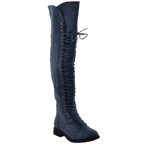 Womens Knee High Boots Lace Up Combat Casual Shoes Navy