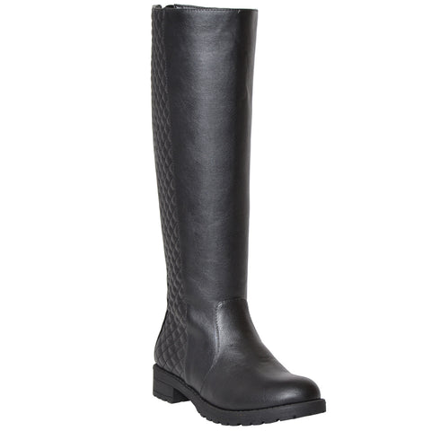 Womens Knee High Boots Quilted Panel Stitching Casual Zip Up Shoes black