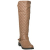 Womens Knee High Boots Quilted Front And Ankle Strap Casual Riding Shoes Tan