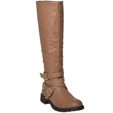 Womens Strappy Knee High Riding Boots Tan