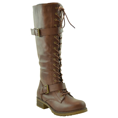 Womens Knee High Boots Faux Leather Lace Up Buckle Straps Shoes Brown