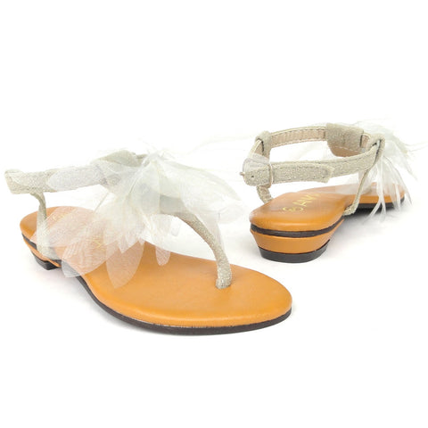 Kids Flat Sandals Chiffon Flower Adjustable Ankle Strap Gray