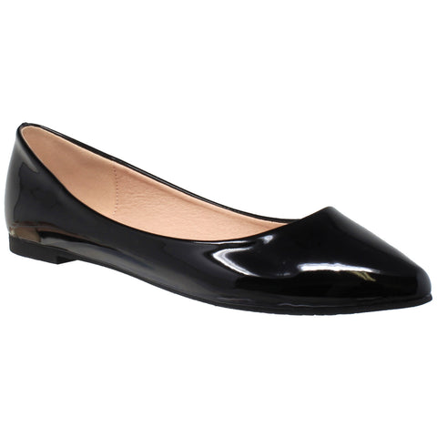 Womens Ballet Flats Patent Leather Pointed Toe Slip On Closed Toe Shoes Black