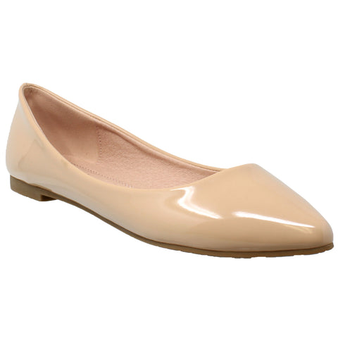 Womens Ballet Flats Patent Leather Pointed Toe Slip On Closed Toe Shoes Nude