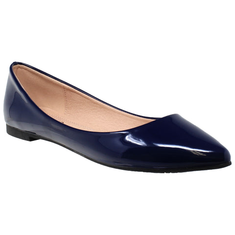 3afc2b62bcc2 Womens Ballet Flats Patent Leather Pointed Toe Slip On Closed Toe Shoe