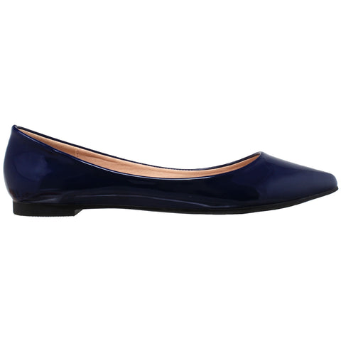 Womens Ballet Flats Patent Leather Pointed Toe Slip On Closed Toe Shoes Navy
