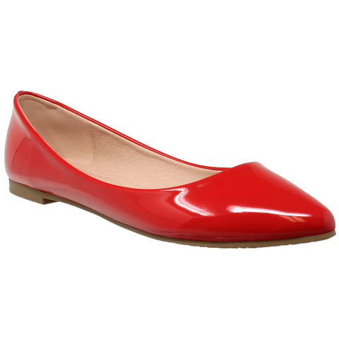 Womens Ballet Flats Patent Leather Pointed Toe Slip On Closed Toe Shoes Red