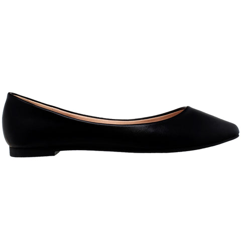 Womens Ballet Flats Pointed Toe Slip On Cushioned Closed Toe Shoes Black