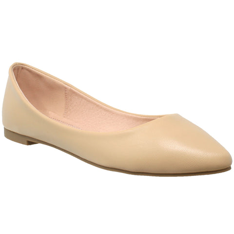 Womens Ballet Flats Pointed Toe Slip On Cushioned Closed Toe Shoes Nude