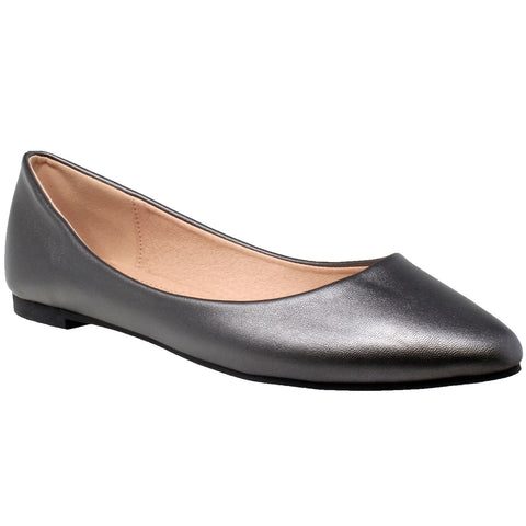 Womens Ballet Flats Pointed Toe Slip On Cushioned Closed Toe Shoes Silver