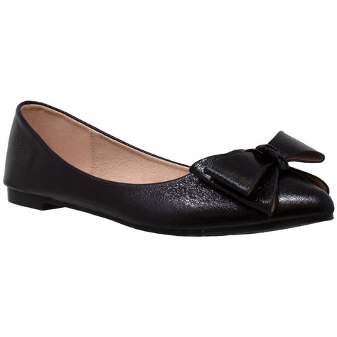 Womens Ballet Flats Metallic Bow Slip On Pointed Toe Shoes Black