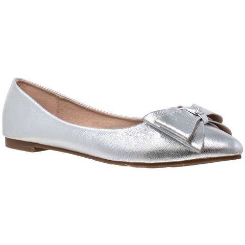 Womens Ballet Flats Metallic Bow Slip On Pointed Toe Shoes Silver