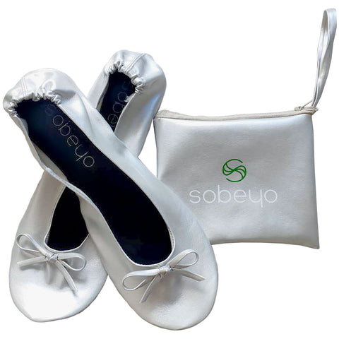 Foldable Ballet Flats Women's Travel Portable Comfortable Shoes Silver