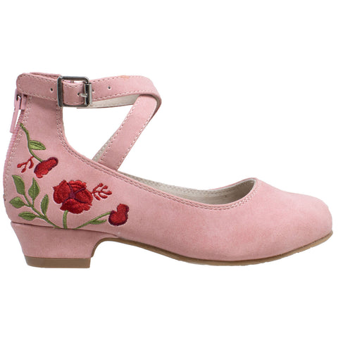 Kids Dress Shoes Embroidered Flower Mary Jane Block Heel Pumps Pink