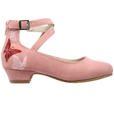 Kids Dress Shoes Embroidered Butterfly Mary Jane Block Heel Pumps Pink