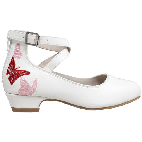 Kids Dress Shoes Embroidered Butterfly Mary Jane Block Heel Pumps White
