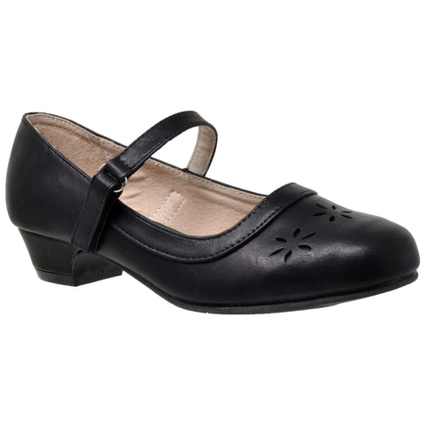 Kids Dress Shoes Mary Jane Ankle Strap Closed Toe Pumps black