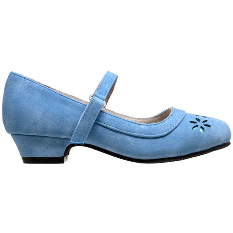 Kids Dress Shoes Mary Jane Ankle Strap Closed Toe Pumps Blue