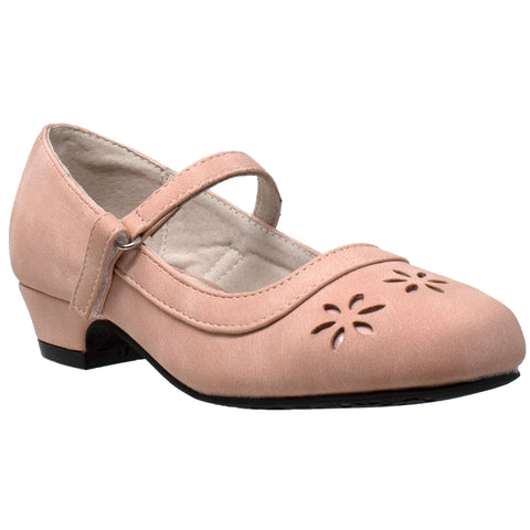 Kids Dress Shoes Mary Jane Ankle Strap Closed Toe Pumps Pink