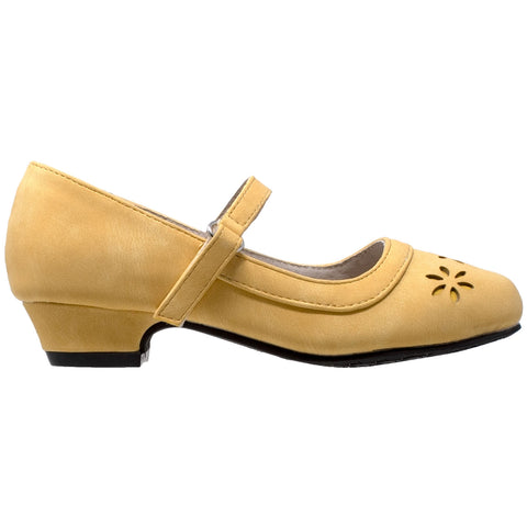 Kids Dress Shoes Mary Jane Ankle Strap Closed Toe Pumps Yellow