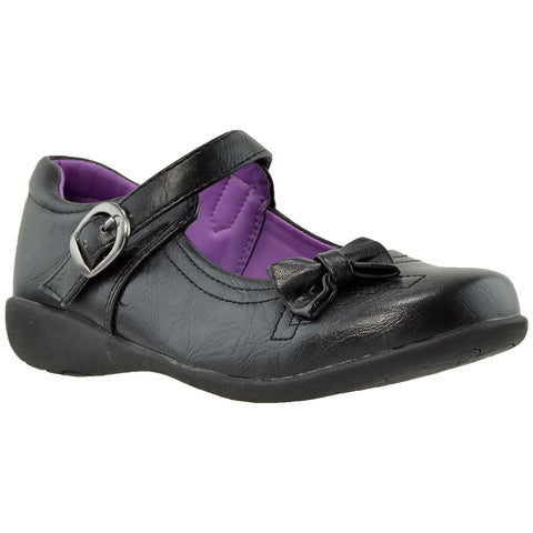 Kids Dress Shoes Mary Jane Bow Accent Closed Toe Shoes Black
