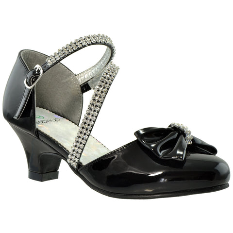 Kids Dress Shoes Rhinestone Bow Accent Kitten Heel Sandals Black