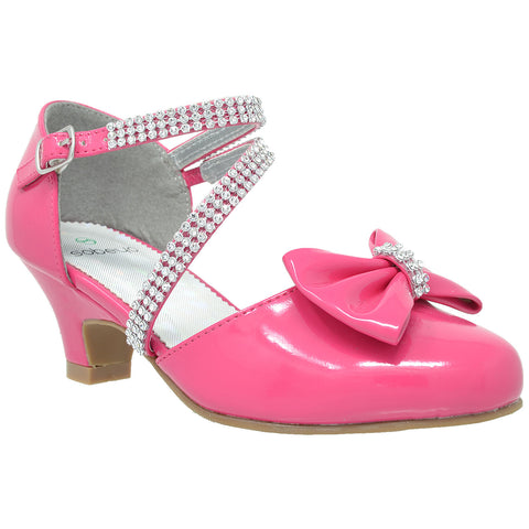 Kids Dress Sandals Rhinestone Bow Accent Kitten Heel Sandals Fuchsia