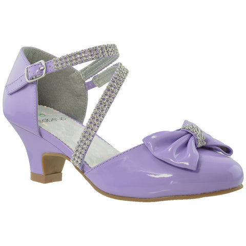 Kids Dress Shoes Rhinestone Bow Accent Kitten Heel Sandals Purple