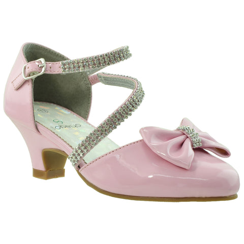 Kids Dress Shoes Rhinestone Bow Accent Kitten Heel Sandals Pink
