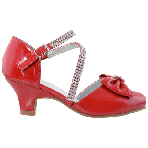 Kids Dress Shoes Rhinestone Bow Accent Kitten Heel Sandals Red