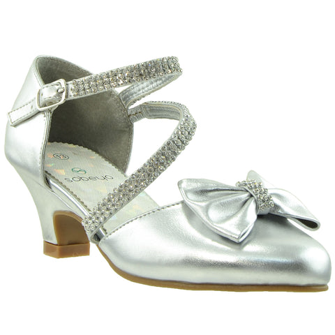 Kids Dress Shoes Rhinestone Bow Accent Kitten Heel Sandals Silver