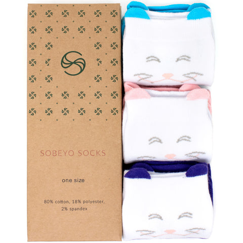 Girl's Socks Knee High Soft Cotton Cute Cat Fashion Sock Mix