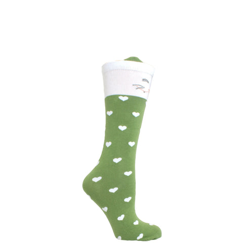 Girl's Socks Knee High Soft Cotton Cute Cat Fashion Sock Green