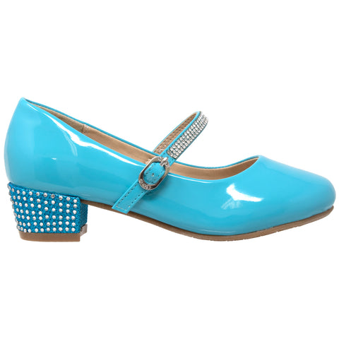 Kids Dress Shoes Rhinestone Ankle Strap Mary Jane Pumps Blue