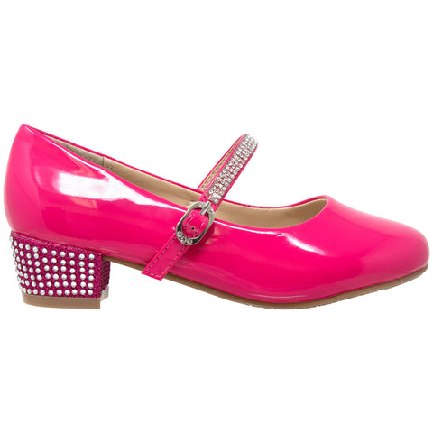 Kids Dress Shoes Rhinestone Ankle Strap Mary Jane Pumps Fuchsia