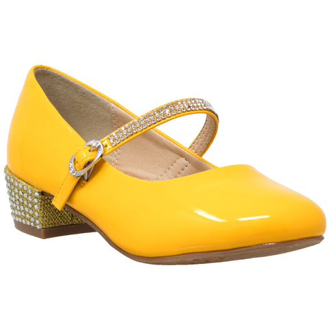 Kids Dress Shoes Rhinestone Ankle Strap Mary Jane Pumps Mustard
