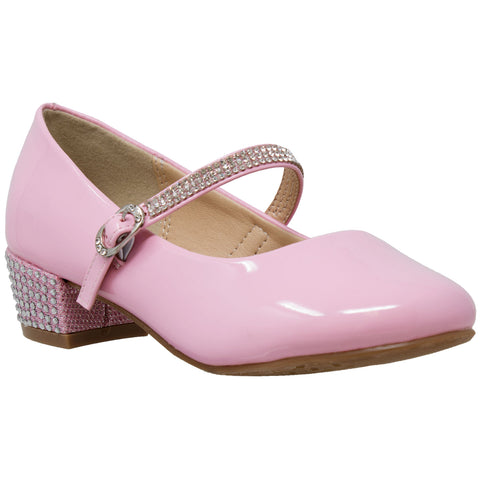 Kids Dress Shoes Rhinestone Ankle Strap Mary Jane Pumps Pink