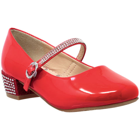 Kids Dress Shoes Rhinestone Ankle Strap Mary Jane Pumps Red