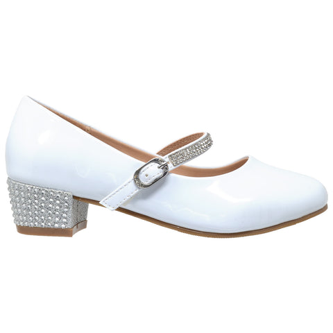 Kids Dress Shoes Rhinestone Ankle Strap Mary Jane Pumps White