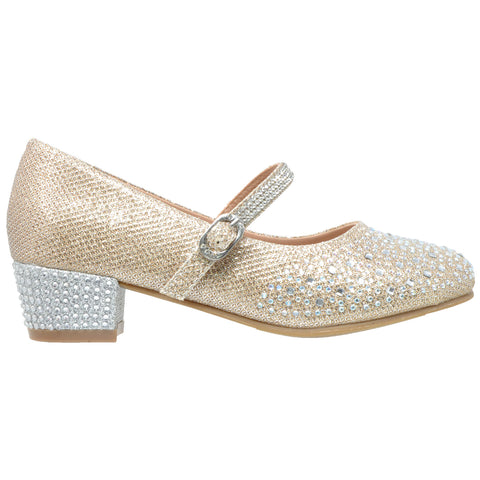 Kids Dress Shoes Glitter Rhinestone Low Heel Mary Jane Pumps Gold