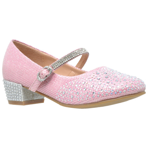Kids Dress Shoes Glitter Rhinestone Low Heel Mary Jane Pumps Pink