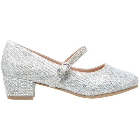 Kids Dress Shoes Glitter Rhinestone Low Heel Mary Jane Pumps Silver