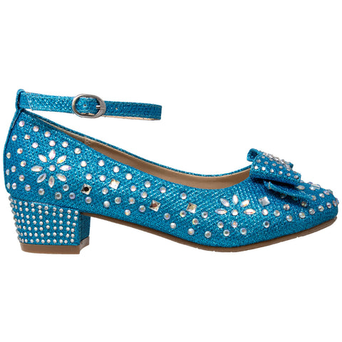 Kids Dress Shoes Girls Glitter Rhinestone Bow Accent Mary Jane Pumps Blue