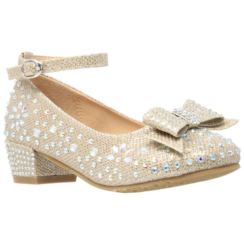 Kids Dress Shoes Girls Glitter Rhinestone Bow Accent Mary Jane Pumps Gold