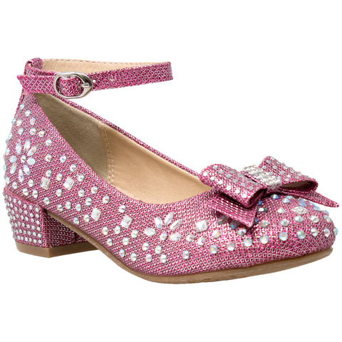 Kids Dress Shoes Girls Glitter Rhinestone Bow Accent Mary Jane Pumps Magenta