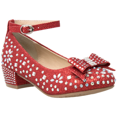 Kids Dress Shoes Girls Glitter Rhinestone Bow Accent Mary Jane Pumps Red