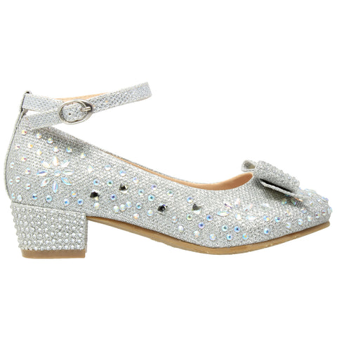 Kids Dress Shoes Girls Glitter Rhinestone Bow Accent Mary Jane Pumps Silver