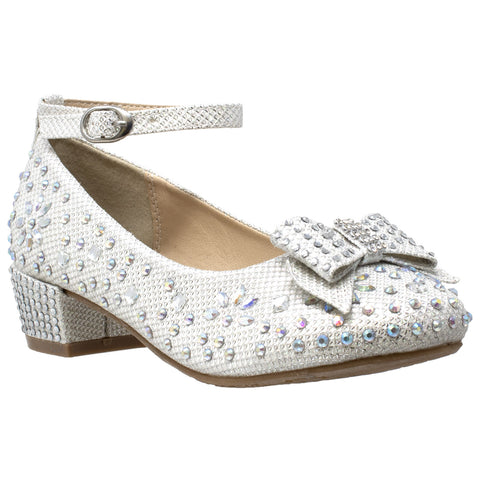 Kids Dress Shoes Girls Glitter Rhinestone Bow Accent Mary Jane Pumps White