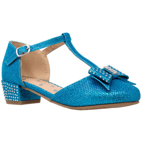 Kids Dress Shoes T-Strap Bow Accent Glitter Rhinestone Mary Jane Pumps Blue