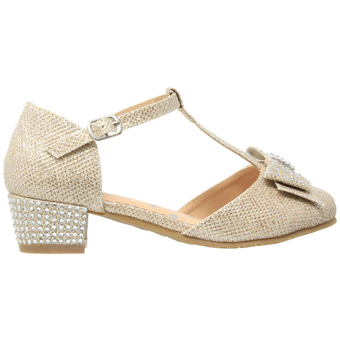 Kids Dress Shoes T-Strap Bow Accent Glitter Rhinestone Mary Jane Pumps Gold